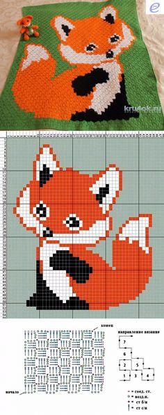 Inspiration for – Crochet C2c Crochet Blanket, Crochet Quilt, Crochet Fox, Tapestry Crochet, Crochet Chart, Crochet Blanket Patterns, Knitting Patterns, Cross Stitching, Cross Stitch Embroidery