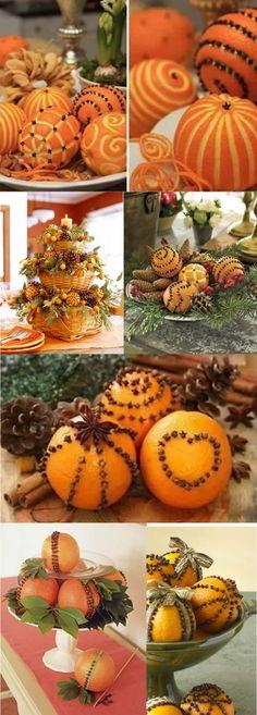 Enfeite de natal com laranjas e cravos