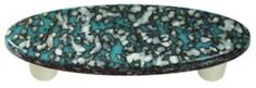 Hot Knobs, Granite, Turquoise Blue & French Vanilla Pull Oval