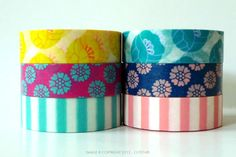Pretty Tulip Washi Tape - Available in 2 color sets: Yellow/Pink/Blue and Aqua/Navy/Pink15mmx10m per rollSet of 2made in Japan (teal set will be back in stock in about 2 weeks) $12.25