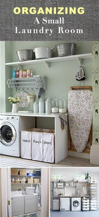 Mais ideia para lavanderia (também gosto muito da forma de separação das roupas) e dos potes para colocar os produtos de limpeza)