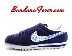 223fe14eeb68 Custom Royal Bandana Nike Cortez Nylon Midnight Navy White