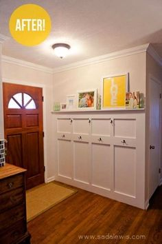 I want this except stain the actual shelf and use the same color as furniture on board and baton portion