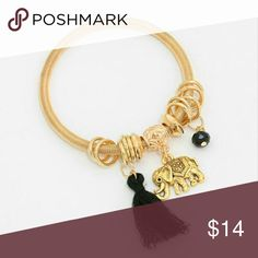 Coming Friday!!! Gold and black animal charm bracelet is stretchable. Smoke free, cat friendly home. Also comes in blue and pale pink tassel. Haia Jewelry Bracelets