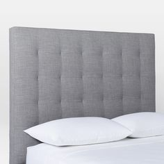 west elm's bedroom furniture features sleek styles and clean lines. Find an assortment of modern bedroom furniture including tables, drawers and headboards. Furniture, Headboards For Beds, Grey Bedroom Design, Home Bedroom, Bed Furniture, Home Decor, Bedroom Inspirations, Playroom Storage Furniture, Tufted Headboard