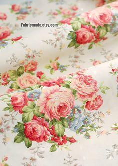 Peony Cotton Fabric Pink Peony Cream Light Beige Cream Background Shabby Chic Fabric Large Flower Cotton- 1/2 yard
