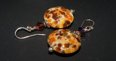 Speckled Lampwork Coin Puff Earrings by LisasOriginals on Etsy