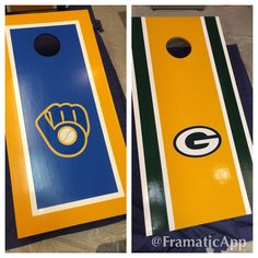 Wisconsin teams, Milwaukee Brewers & Green Bay Packers corn hole boards