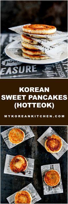 Korean sweet pancake (Hotteok) is a popular Korean winter street food. It's crispy outside and inside is filled with sweet gooey indulgence! | MyKoreanKitchen.com
