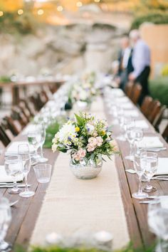 Rustic wedding table: http://www.stylemepretty.com/california-weddings/ramona-california/2015/09/10/charming-farm-vineyard-wedding/ | Photography: Mirelle Carmichael - http://www.mirellecarmichael.com/