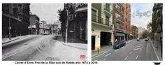Carrer d'Enric Prat de la Riba con de Rodés año 1974 y 2016