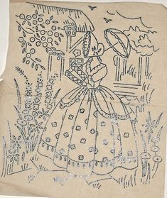 Vintage Embroidery Patterns Vintage embroidery transfer - Crinoline Lady with parasol in cottage garden - Embroidery Tools, Embroidery Transfers, Learn Embroidery, Hand Embroidery Stitches, Vintage Embroidery, Beaded Embroidery, Machine Embroidery, Brother Embroidery, Embroidery Software