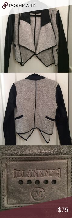 BLANKNYC vegan leather sleeved jacket. Worn once. Vegan leather sleeved moto jacket. Only worn once and in perfect condition. Brushed boucle knit with a draped front. Zip pockets. Unlined. Blank Denim Jackets & Coats