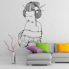 Geisha Wall Decal Vinyl Sticker Art Decor girl Japan Asia minimalism fan Sakura religion hieroglyph drawing sketch bedroom mural gift
