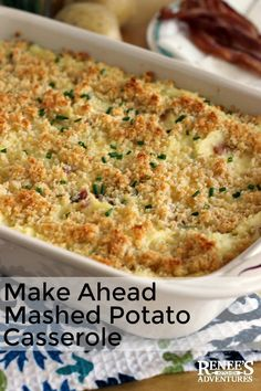 The Rise Of Private Label Brands In The Retail Meals Current Market Loaded Mashed Potato Casserole By Renee's Kitchen Adventures Is An Easy Recipe For A Mashed Potato Casserole That Can Be Made Up To 3 Days Ahead And Then Baked Before Serving. Make Ahead Mashed Potatoes, Loaded Mashed Potato Casserole, Potatoe Casserole Recipes, Casserole Dishes, Potato Recipes, Mashed Potato Bake Recipe, Cheesy Mashed Potatoes, Crispy Potatoes, Turkey Recipes