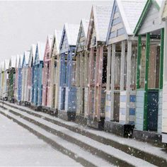 Beach huts in the snow - looks a lot like Southwold to me - our fave.