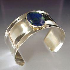 Sterling Silver Cuff Bracelet with Stone by Modern Art Jewelry on Opensky