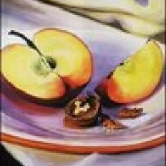 Still Life with apple and walnut, by Louise Grove Wiechers, acrylic on canvas 2012