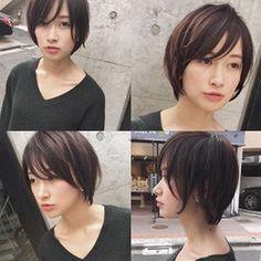 ショートヘア#ショートカット#ショートボブ#マッシュ#ヘアアレンジ#前下がりショート#前下がり#ななめ前髪#流し前髪#長めショート Cute Hairstyles For Short Hair, Hairstyles Haircuts, Short Hair Cuts, Short Hair Styles, Cut My Hair, Love Hair, Angled Haircut, Cabello Hair, Hair Arrange