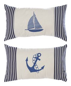 Take a look at this Navy & White Maritime Pillow Set by UMA Enterprises on #zulily today!