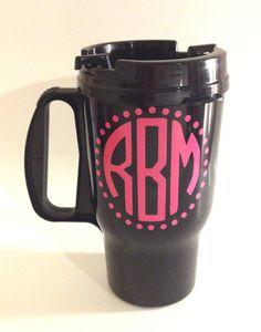 Black Coffee Travel Mug with Monogram on Etsy, $4.00