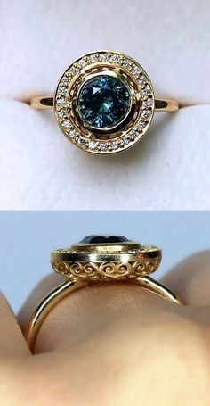 Carat Teal Montana Sapphire Diamond Frame Ring - A carat glowing Teal Blue GIA Certified Montana Sapphire sits in the center of this lovingly h - Or Antique, Antique Jewelry, Silver Jewelry, Vintage Jewelry, Effy Jewelry, Antique Silver, Lustre Original, Jewelry Accessories, Jewelry Design