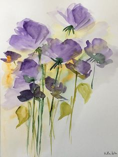 ORIGINAL AQUARELL Aquarellmalerei Bild Unikat Wiesenblumen #watercolorarts