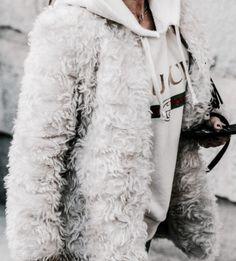 gucci hoodie + fur jacket