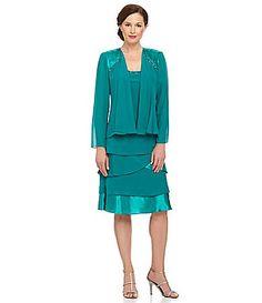 SL Fashions Beaded Jacket Dress #Dillards