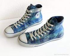 Blue check pattern Converse high tops gingham All Stars by Femchan