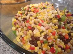 Corn salsa - parties, 4th of July, cookout, superbowl, tailgating, camping, recipe, recipes, appetizer, tortilla chips, fritos, salad, wrap, wraps, fish tacos, corn, black beans, pinto beans, black eyed peas, red beans, garbanzo beans, red bell pepper, yellow bell pepper, green bell pepper, jalapeno pepper, apple cider vinegar