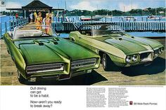 1969 Pontiac advertisement - Firebird coupe, GTO convertible
