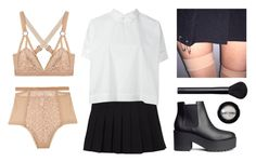 """""""School Gurl"""" by baludna ❤ liked on Polyvore featuring Lonely, Société Anonyme, H&M, NARS Cosmetics and Manic Panic"""