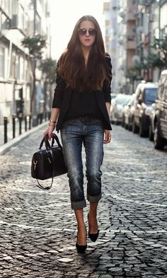 black cardigan with jeans