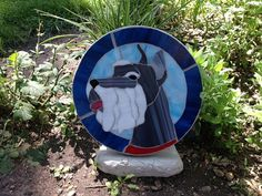 Miniature Schnazer Stained Glass Stepping Stone by MayhewMosaics, $125.00