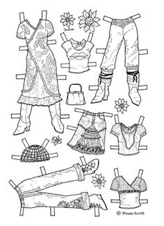 Karen`s Paper Dolls: Julie 1-4 Paper Doll to Colour. Julie 1-4 påklædningsdukke…