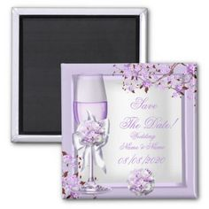 Save The Date Wedding Lavender Purple Lilac 4 Magnet