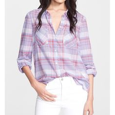 joie plaid flannel purple button down shirt Airy button-down in plaid print cotton features optional roll-up sleeve tabs, button front, front patch pockets and a rounded shirt hem - a feminine take on a menswear inspired classic. 100% airy voile cotton. NWT in retail bag. Measurements available upon request. Joie Tops Button Down Shirts