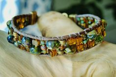 SMOKY OLIVE  Single Wrap Leather Bracelet>Amber Glow of Smoky Quartz,African Turquoise & Czech glass Olive Picasso Rondel/Beads,Clasp Option