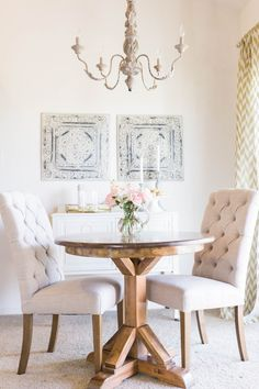 a small space dining room layered with cozy neutrals Photography: Ashley Slater Photography - www.ashleyslaterphotography.com   Read More on SMP: http://www.stylemepretty.com/2016/02/12//