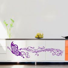 Butterfly & Music Vinyl Wall Sticker Art Removable Home Room Decor Decal Purple