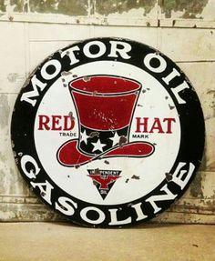 Rare Original Red Hat Motor Oil & Gasoline Porcelain Sign