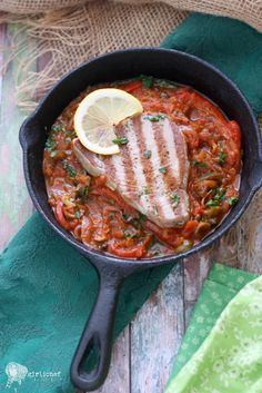 Tuna a la Veracruzana: grilled tuna steak in a chunky Veracruz-style sauce. #seafood #mazoladishfortheheart