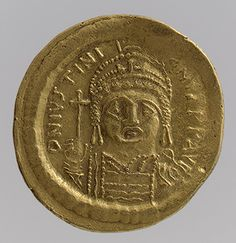 Solidus of Justinian I (r. 527–565), 538–565  Byzantine; Minted in Constantinople  Gold