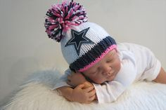 Dallas Cowboys Baby Girl Beanie Hat in Stark by babyknitsnfrills Baby Boy  Beanies 7f9a6c73f