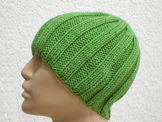 Ribbed beanie hat in kiwi, apple, leaf, green, skull cap, chemo cap, men's hat, women's hat, knit hat, beanie hat, skateboard, ski, biker
