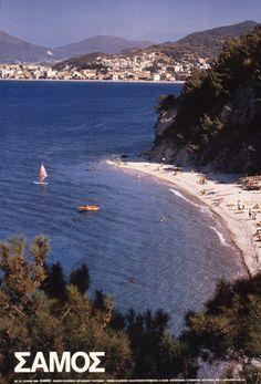 TRAVEL'IN GREECE I G.N.T.O. vintage poster - #Samos, #Greece Old Posters, Travel Posters, Vintage Posters, Ocean Pictures, Ocean Pics, Crete, Samos Greece, Cradle Of Civilization, Skiathos