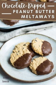 Chocolate-Dipped Peanut Butter Meltaway Cookies are so wonderfully soft and light. The combination of chocolate and peanut butter really shines in these simple cookies!