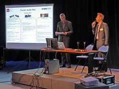 FORUM AUDIO PRO YAMAHA INA EXPERT, L'union fait la force - Un programme copieux, mêlant conférences et ateliers pratiques autour de trois axes : le réseau numérique Dante et les horloges numériques, le système de postproduction audio à l'image Nuage/Nuendo 6, le système d'acoustique active AFC3 (première présentation en France). Un réseau Dante était déployé entre le plateau 232, qui accueillait les conférences, et les studios 229 et 240D où se déroulaient les ateliers.