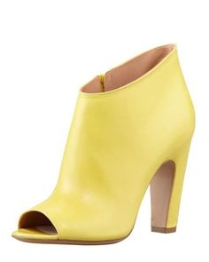 S/S 2013: Leather Peep-Toe Ankle Boot, Yellow by Maison Martin Margiela at Bergdorf Goodman.